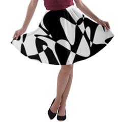 Black and white elegant pattern A-line Skater Skirt