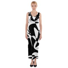Black and white elegant pattern Fitted Maxi Dress
