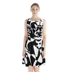 Black and white elegant pattern Sleeveless Waist Tie Dress