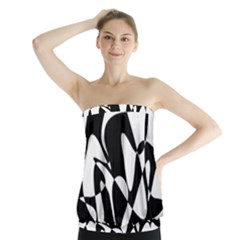 Black and white elegant pattern Strapless Top