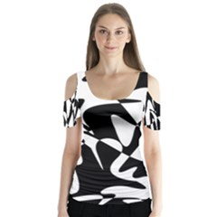 Black and white elegant pattern Butterfly Sleeve Cutout Tee