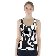 Black and white elegant pattern Racer Back Sports Top