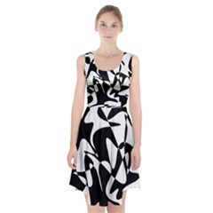 Black And White Elegant Pattern Racerback Midi Dress