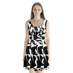Black and white elegant pattern Split Back Mini Dress
