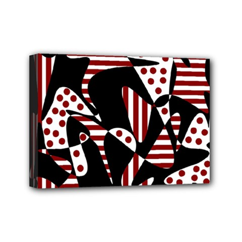 Red, black and white abstraction Mini Canvas 7  x 5