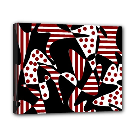 Red, black and white abstraction Canvas 10  x 8