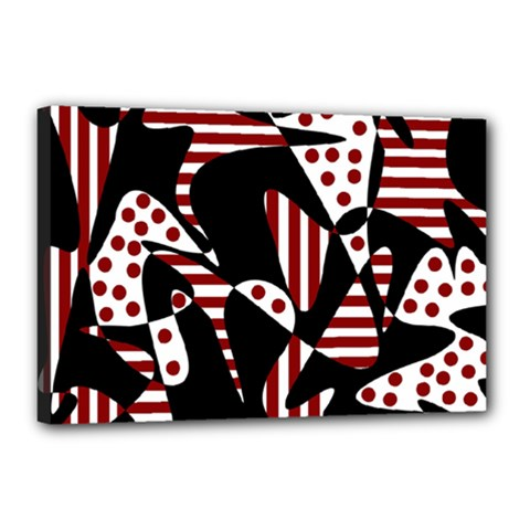 Red, black and white abstraction Canvas 18  x 12