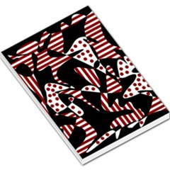 Red, black and white abstraction Large Memo Pads