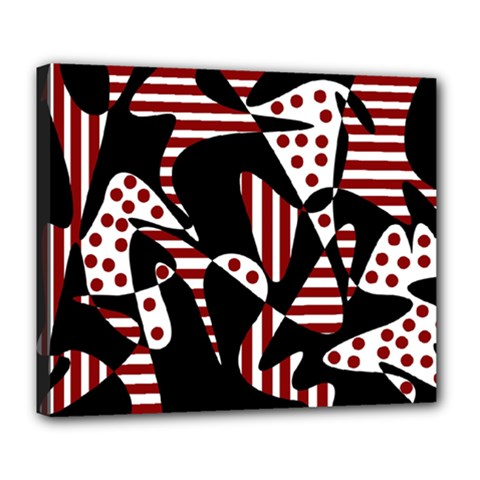 Red, black and white abstraction Deluxe Canvas 24  x 20