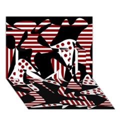 Red, black and white abstraction I Love You 3D Greeting Card (7x5)
