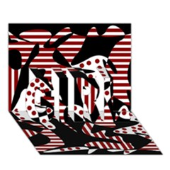 Red, black and white abstraction GIRL 3D Greeting Card (7x5)