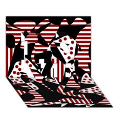 Red, black and white abstraction LOVE 3D Greeting Card (7x5)