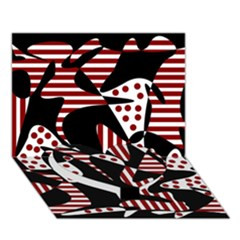 Red, Black And White Abstraction Heart Bottom 3d Greeting Card (7x5)