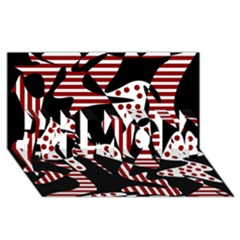 Red, black and white abstraction #1 MOM 3D Greeting Cards (8x4)