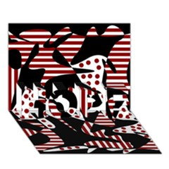 Red, black and white abstraction HOPE 3D Greeting Card (7x5)