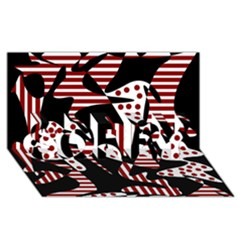 Red, black and white abstraction SORRY 3D Greeting Card (8x4)
