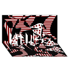 Red, black and white abstraction HUGS 3D Greeting Card (8x4)
