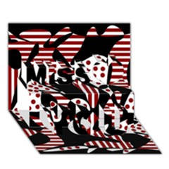 Red, black and white abstraction Miss You 3D Greeting Card (7x5)