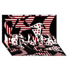Red, Black And White Abstraction Engaged 3d Greeting Card (8x4)