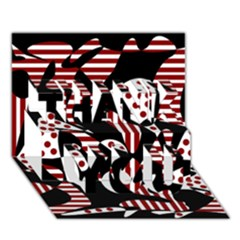 Red, black and white abstraction THANK YOU 3D Greeting Card (7x5)