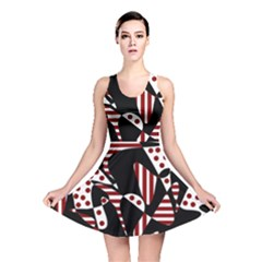 Red, black and white abstraction Reversible Skater Dress