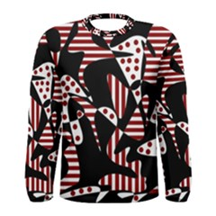 Red, black and white abstraction Men s Long Sleeve Tee