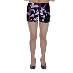 Red, black and white abstraction Skinny Shorts