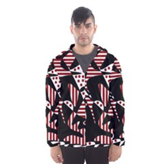 Red, black and white abstraction Hooded Wind Breaker (Men)