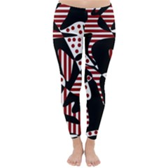 Red, black and white abstraction Winter Leggings