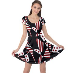 Red, black and white abstraction Cap Sleeve Dresses
