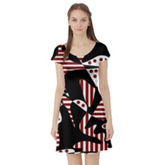 Red, black and white abstraction Short Sleeve Skater Dress