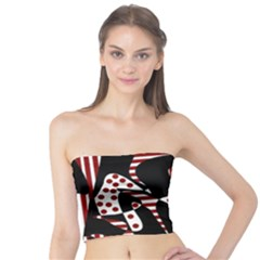 Red, Black And White Abstraction Tube Top