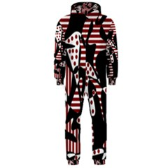 Red, black and white abstraction Hooded Jumpsuit (Men)
