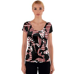 Red, black and white abstraction Women s V-Neck Cap Sleeve Top