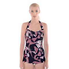 Red, black and white abstraction Boyleg Halter Swimsuit