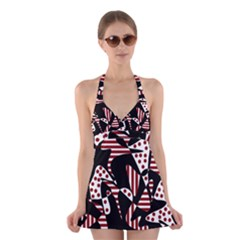 Red, Black And White Abstraction Halter Swimsuit Dress