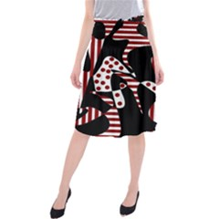 Red, black and white abstraction Midi Beach Skirt