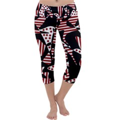 Red, black and white abstraction Capri Yoga Leggings