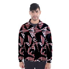 Red, black and white abstraction Wind Breaker (Men)