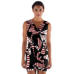 Red, black and white abstraction Wrap Front Bodycon Dress