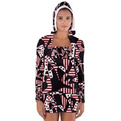 Red, black and white abstraction Women s Long Sleeve Hooded T-shirt