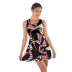 Red, black and white abstraction Cotton Racerback Dress