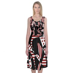 Red, black and white abstraction Midi Sleeveless Dress