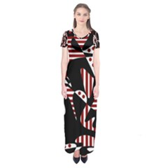Red, black and white abstraction Short Sleeve Maxi Dress