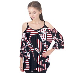 Red, black and white abstraction Flutter Tees