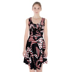 Red, black and white abstraction Racerback Midi Dress