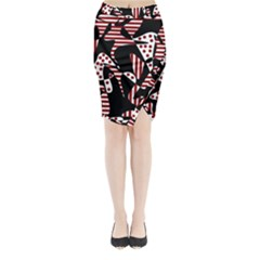 Red, black and white abstraction Midi Wrap Pencil Skirt