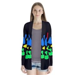 Colorful Abstraction Drape Collar Cardigan