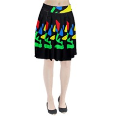 Colorful abstraction Pleated Skirt