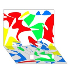 Colorful abstraction LOVE Bottom 3D Greeting Card (7x5)